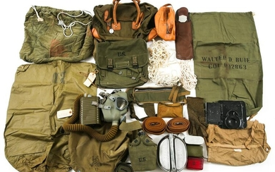WWII US ARMY OFFICER'S FIELD GEAR GAS MASK & MORE