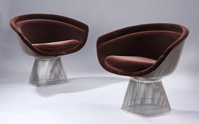 Warren Platner. A pair of lounge chairs, wire chairs Model 1725A, brown velour (2)