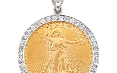 White Gold, Gold Coin and Diamond Pendant
