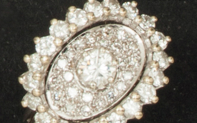 White gold ring, set with a brilliant-cut diamond...