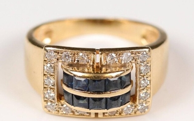 Yellow gold (750) tank ring adorned in the centre with a double line of calibrated sapphires in a paved diamond surround. TD: 52, Gross weight: 4.73 gr.