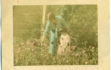 c 1920 s ART PHOTO TINTED, Art Deco MOTHER & CHILD IN