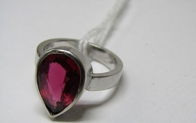 14ct WHITE GOLD TOURMALINE SOLITAIRE, pear cut tourmaline in...