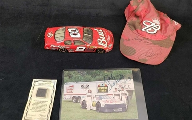 Signed Dale Earnhardt Jr Photo Hat Car and Authentic