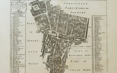 1720 Strype Ward Map of Barbican and London Wall Area