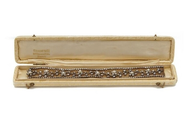 18K Gold, Silver, Diamond, and Pearl Bracelet, retailed