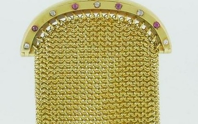 18k Yellow Gold Mesh Coin Purse with Ruby and Diamond
