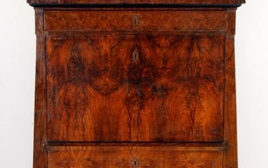 19TH C. BURL WOOD ABATTANT FULLY FITTED INTERIOR