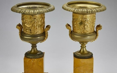 (2) Continental patinated and gilt bronze urns