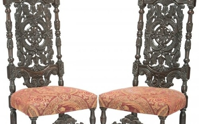 27116: A Pair of Jacobean Revival Carved Oak Hall Chair