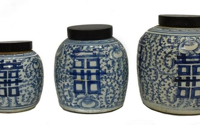 (3) CHINESE BLUE & WHITE DOUBLE HAPPINESS JARS