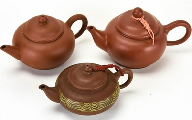3 Chinese Pottery Teapots Signed