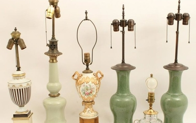 6 pc misc lot of estate glass and porcelain lamps