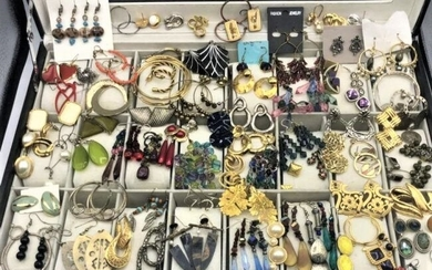 81 Pairs Assorted Costume Jewelry Pierced Earrings
