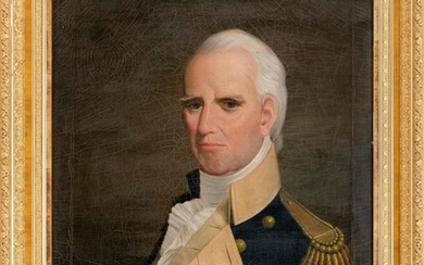 """AMERICAN SCHOOL, 19th Century, Portrait of a naval officer., Oil on canvas, 30"""" x 24"""". Framed 37"""" x 31""""."""