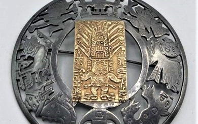 .925 Sterling with 18 K Gold Center Aztec-Mayan Brooch