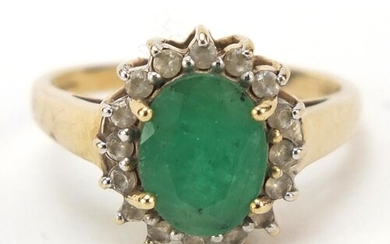 9ct gold, emerald and cubic zirconia ring, size L, 2.6g