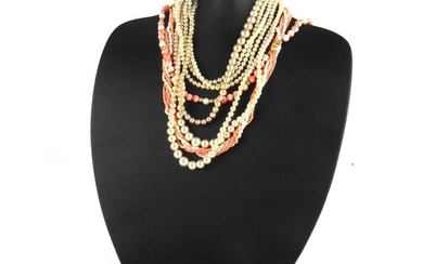A 14CT GOLD, CORAL AND PEARL NECKLACE Coral spheres with pea...