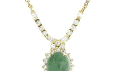 A 14ct gold dyed jade and vari-cut diamond cluster