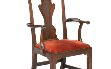 A 18th century and later mahogany carver dining chair