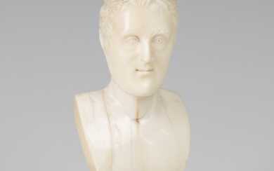 A 19th century carved ivory head and shoulders portrait bust of the Duke of Wellington, height 8.5cm