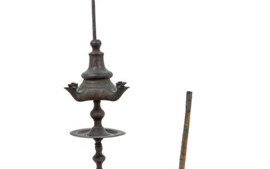 A Brass Lamp and a Brass Pipe Base with a Turkish Carved Pine Pipe