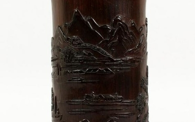 A CHINESE BAMBOO BRUSH POT, carved with a continuous