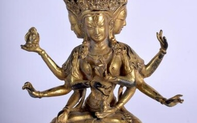 A CHINESE GILT BRONZE MULTI ARMED BUDDHA. 18 cm x 11
