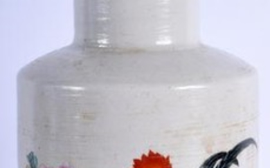 A CHINESE PORCELAIN ROULEAU VASE, dcprated with fwol in