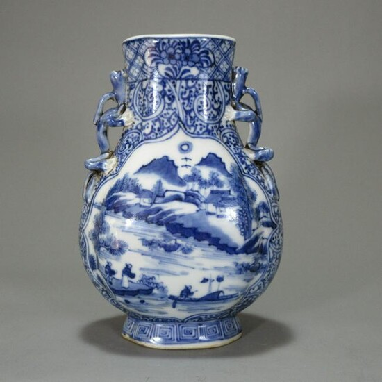 A Chinese Blue and White Landscape Porcelain Oblate
