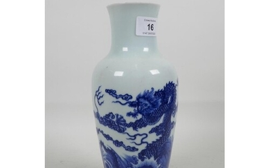 A Chinese blue and white porcelain vase decorated with drago...