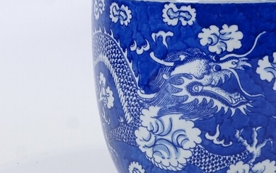 A Chinese blue and white transfer decorated jardiniere, with...