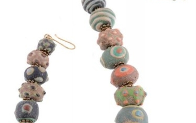A Chinese style composite glazed bead necklace