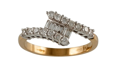 A DIAMOND DRESS RING, with round and baguette cut diamonds o...