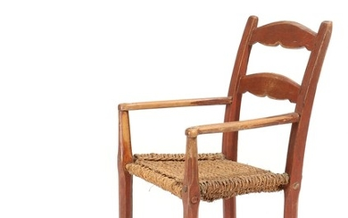 A Danish 19th century red painted armchair, seat suspended with woven sea grass.