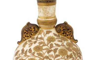 A Fine American Aesthetic Gilt-Decorated Earthenware Vase