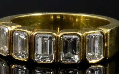 A Five Stone Diamond Ring, Modern, in gold coloured...