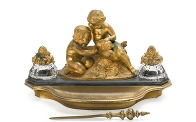 A French figural bronze inkwell