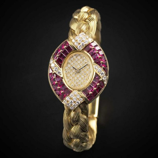 A LADIES 18K SOLID GOLD, DIAMOND & RUBY THE ROYAL