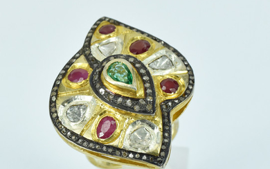 A LARGE GEM AND DIAMOND RING