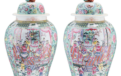A Large Pair of Chinese Famille Verte Enameled Porcelain Vases with Covers (20th century)