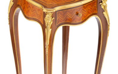 A Louis XV-Style Gilt Bronze and Porcelain Mounted Mahogany and Kingwood Parquetry Side Table (late 19th century)