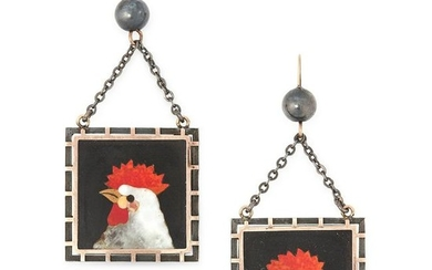 A PAIR OF ANTIQUE PIETRA DURA CHICKEN EARRINGS, LATE