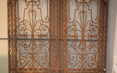 A PAIR OF ANTIQUE WROUGHT IRON FRENCH PROVINCIAL DOORS (260H X 76W CM EACH) (PLEASE NOTE THIS ITEM MUST BE REMOVED BY CLIENTS OR CA...