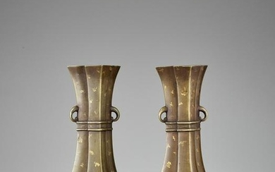 A PAIR OF GOLD-SPLASHED BRONZE VASES, QING DYNASTY