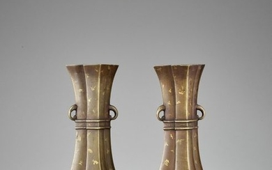 A PAIR OF GOLD SPLASHED BRONZE VASES, QING...