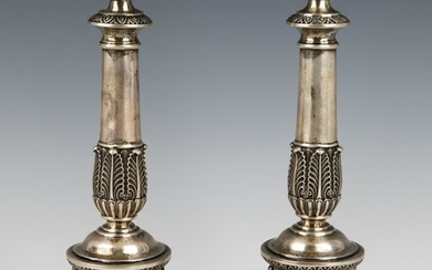 A PAIR OF HEAVY SILVER CANDLESTICKS. Germany, 19th