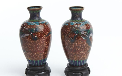 A PAIR OF JAPANESE CLOISONNE VASES MEIJI PERIOD