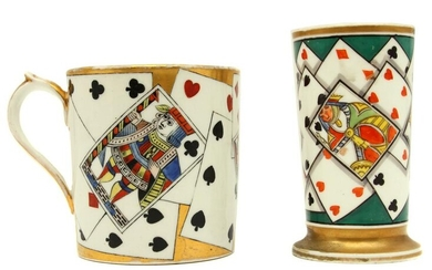 A PORCELAIN CUP AND PENCIL HOLDER WITH CARDS 19 C