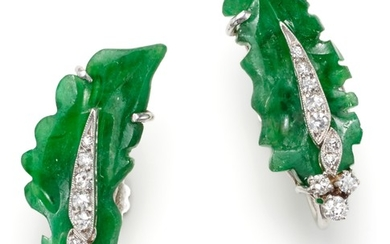 A Pair of Jadeite, Diamond and Gold Earrings